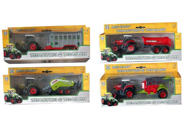 A To Z Die Cast Farm Tractor With Trailer - 4 Assorted Picked At Random