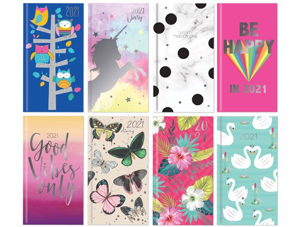 48x Assorted 2021 Slim Diaries - 8 Assorted designs