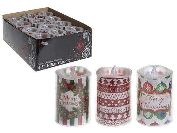 12x Festive Colour Changing Pillar Candle light