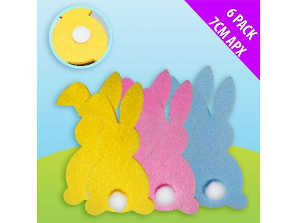 6pk Felt Craft Assorted Bunny Stickers