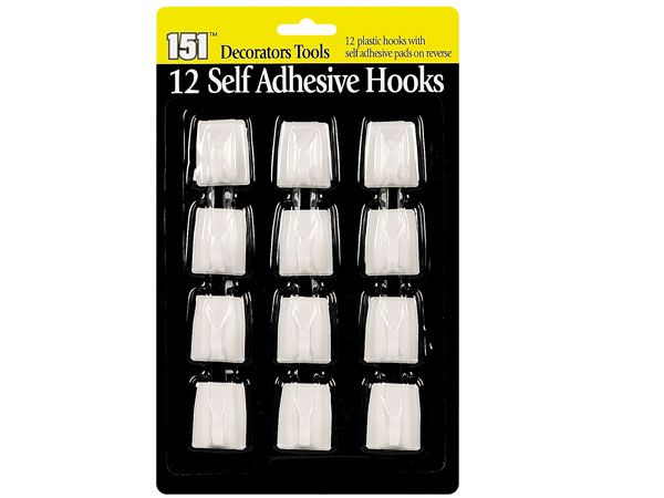 12pk Self Adhesive Hooks, by 151 Products
