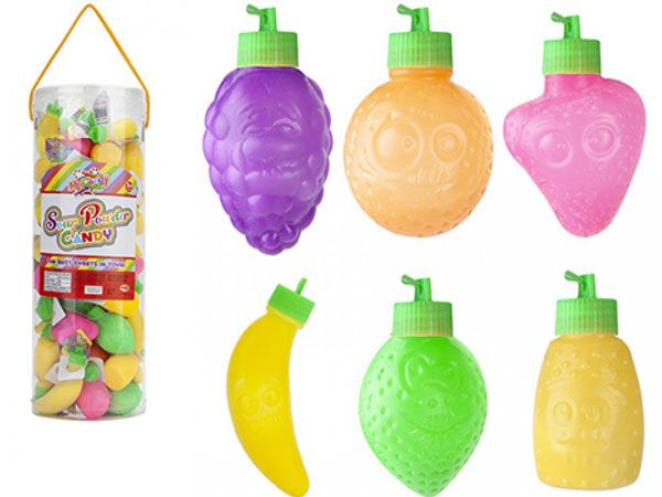 55x Mr Candy Sour Powder Candy In Fruit Containers