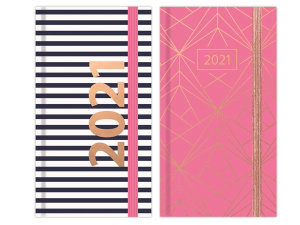 18x 2021 Slim Diary Week To View..Geometric Soft Touch, 2 Designs