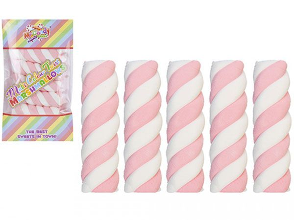 24x Mr Candy 5pk - 6cm Multi Colour Twist Marshmallow