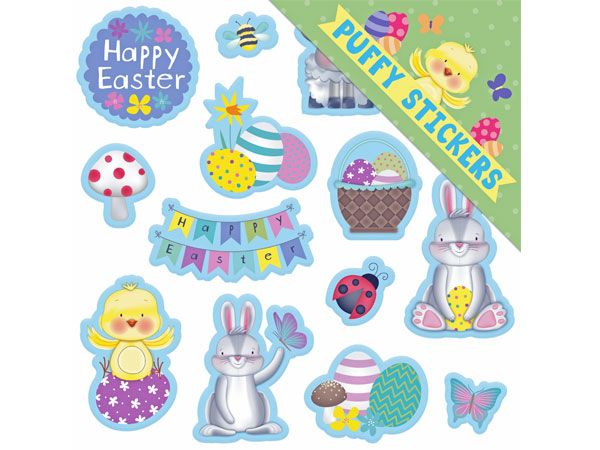 14pk Easter Puffy Stickers