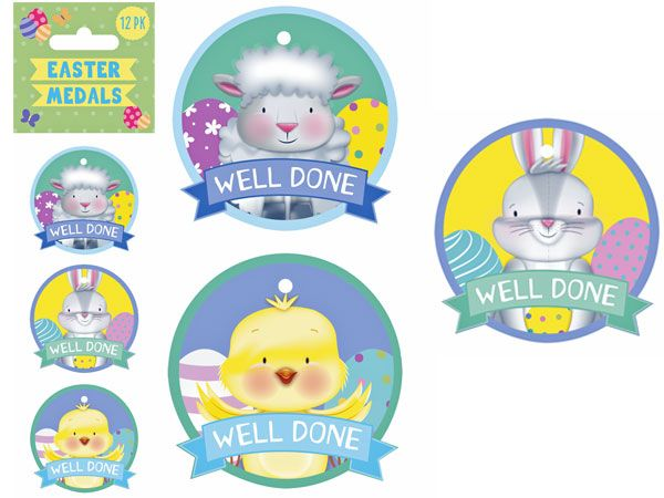12pk Easter Medals In Assorted Designs