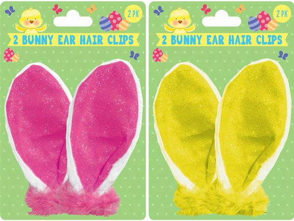 2pk Easter Bunny Ear Hair Clips - Assorted, Picked At Random