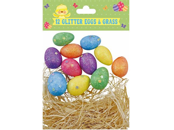 12pk Easter Glitter Eggs And Grass Decoration Set