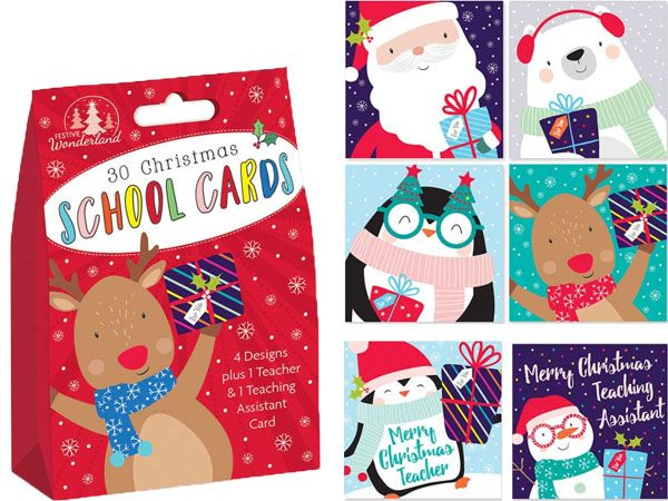 Festive Wonderland 30 Kids School Christmas Cards - Cute Designs