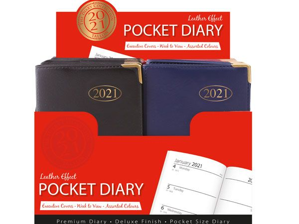 30 x PVC Pocket Gilt Corner Diary 2021
