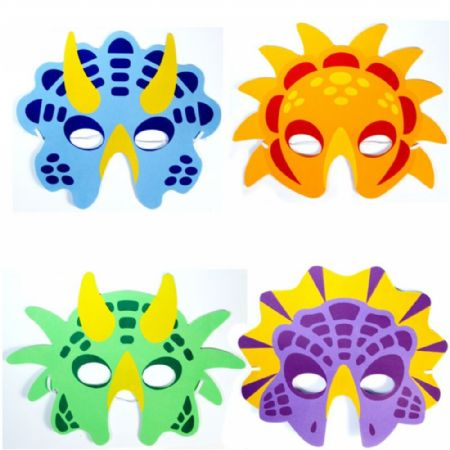 24x Assorted EVA Foam Dinosaur Masks