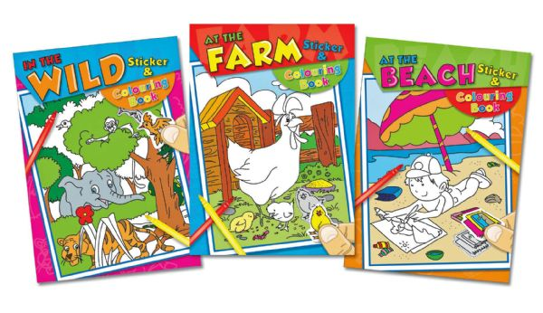 12x LARGE Colouring And Sticker Books - Assorted Designs