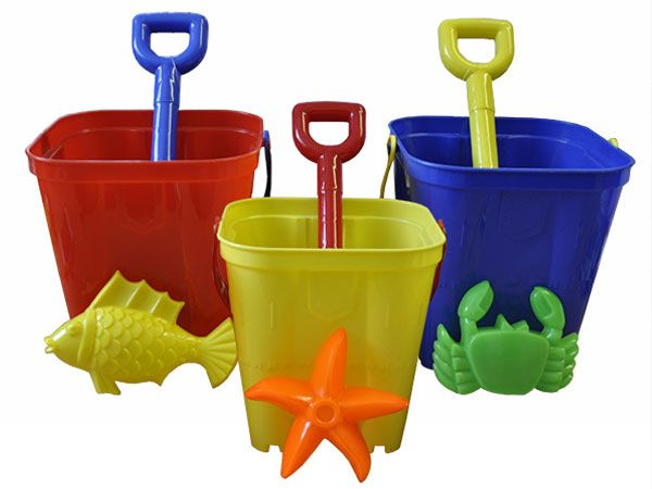 Small Square Castle Bucket Set, With Mould And Spade - Assorted Picked At Random