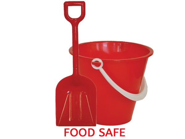 11cm Round FOOD SAFE Chip Bucket And Spade - Red