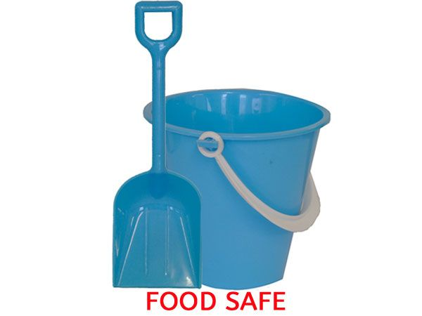11cm Round FOOD SAFE Chip Bucket And Spade - Blue