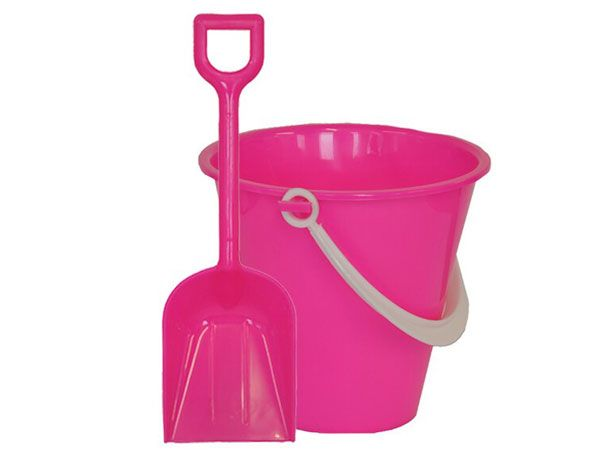 11cm Round FOOD SAFE Chip Bucket And Spade - Pink