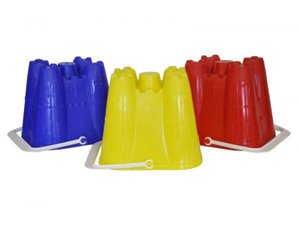 18x Medium 6inch Square Castle Sand Bucket...Assorted Colours