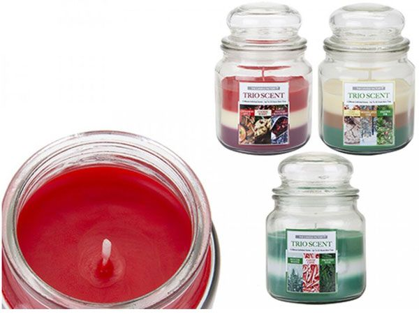 4x The Candle Factory Glass Bell Jar Trio Scent Candles, 14cm x 10cm