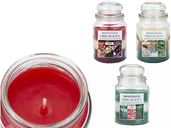 4x The Candle Factory Glass Bell Jar Trio Scent Candles, 16cm x 10cm