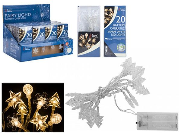 Snow White 20 Warm White LED Lights - Battery Operated