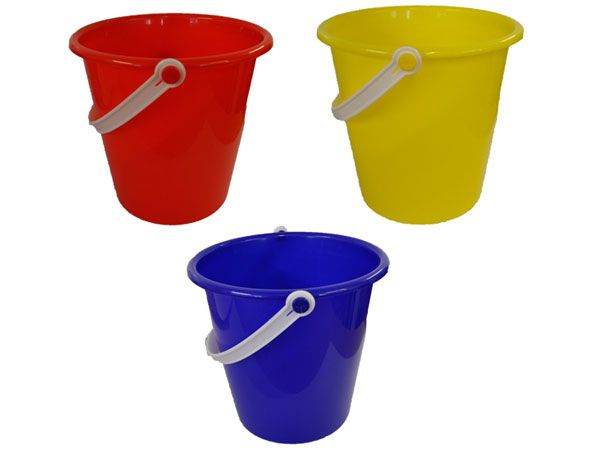 12x Large 7 inch Round Plastic Colour Sand Bucket