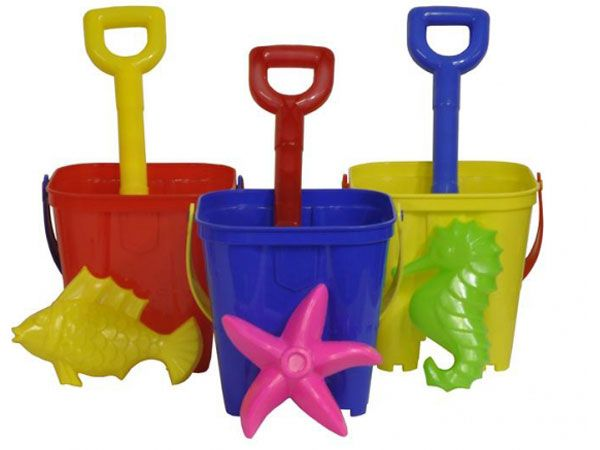 13cm Castle Sand Bucket, Spade And Mould Set, Assorted Picked At Random