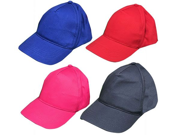 24x Childs Plain Baseball Caps In Assorted Colours