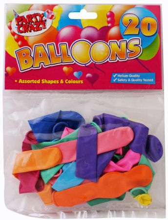 12x Party Crazy 20pk Assorted Balloons