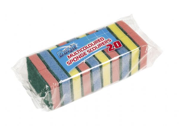 Duzzit 20pk Multicoloured Sponge Scourers, by 151 Products