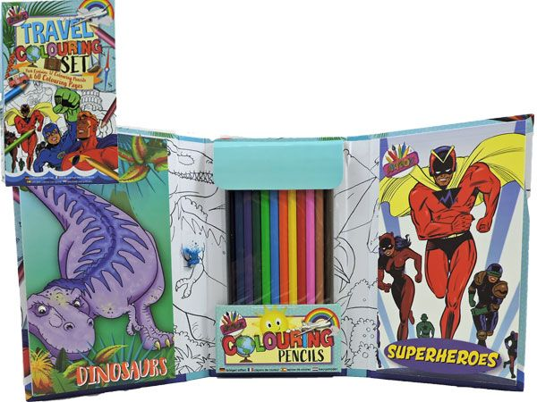 Artbox Boys Travel Colouring Set, Dinosaurs and Superheroes, Picked At Random