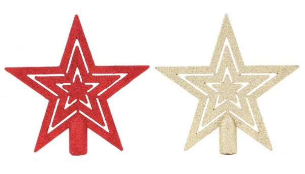 Festive Wonderland Christmas Traditional Star Tree Topper - 2 Assorted
