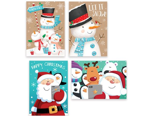 10pk Square Christmas Cards - Snowman And Santa
