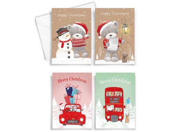 10pk Christmas Cards - Kraft Teds / Cute Character