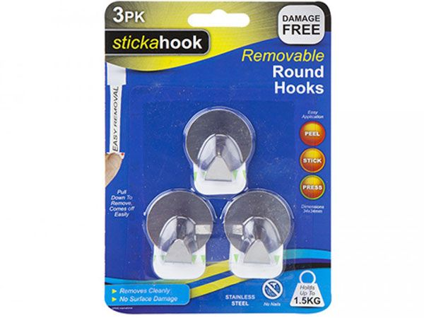 Stickahook - 3 pack Removable Round Stainless Steel Hooks