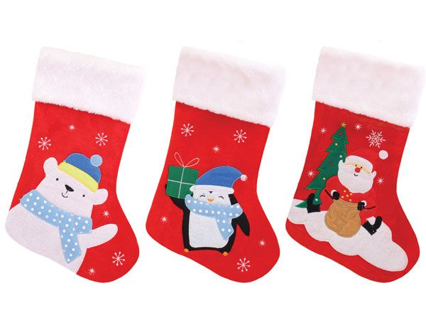 Festive Wonderland Childrens Christmas Felt Stocking - Assorted