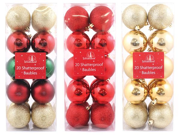 Festive Wonderland 20pk Shatterproof Luxury Traditional- Assorted