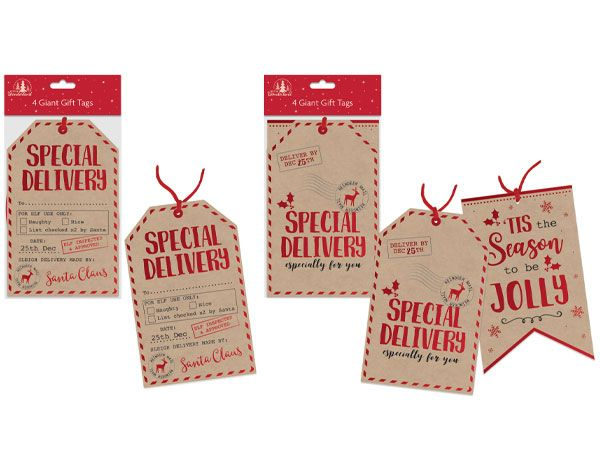 Festive Wonderland - 4 Giant Gift Tags