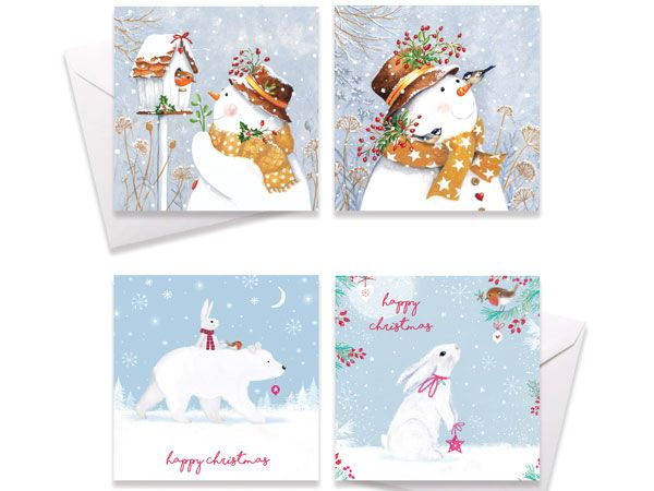 10pk Square Christmas Cards - Cute Designs