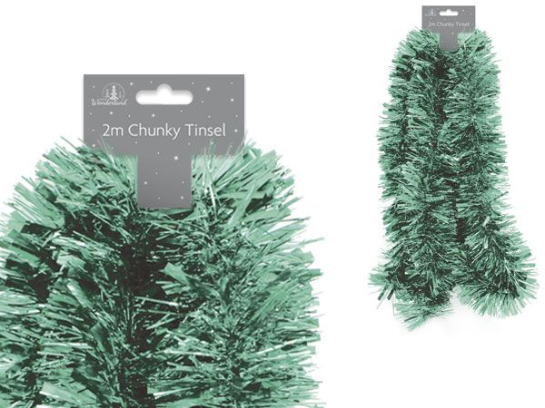 Festive Wonderland 2mtr Christmas Chunky Tinsel Green Colour