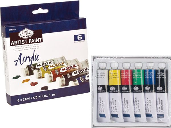 Royal and Langnickel  - 6 Colour 21ml Acrylic Artist Paints