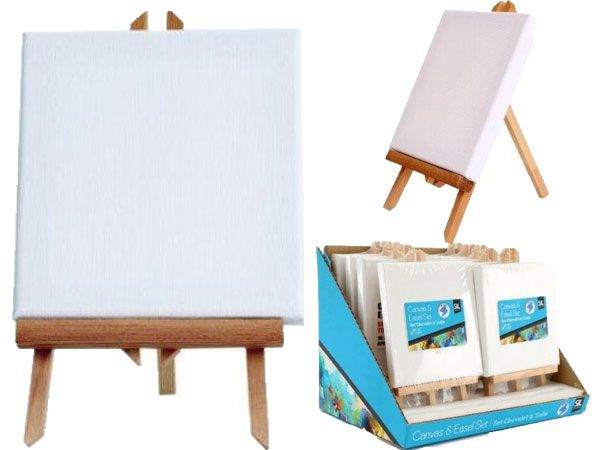 Artist Canvas And Easel Set - 16x15cm