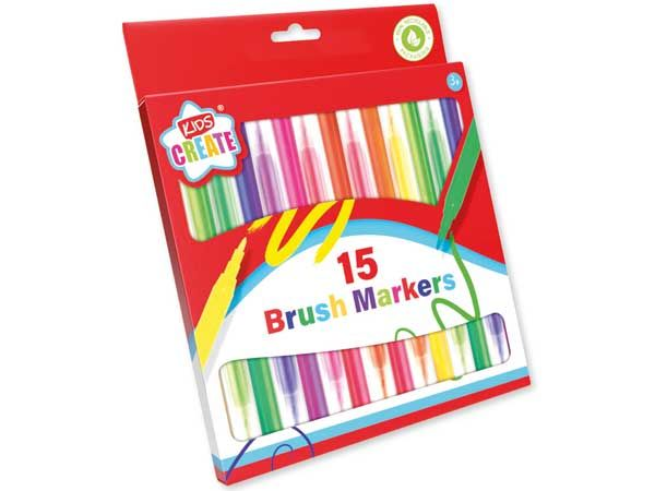 Kids Create 15pk Brush Colouring Markers