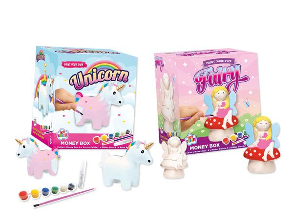 Kids Create Paint Your Own Unicorn & Fairy Money Box - Assorted, Picked At Random
