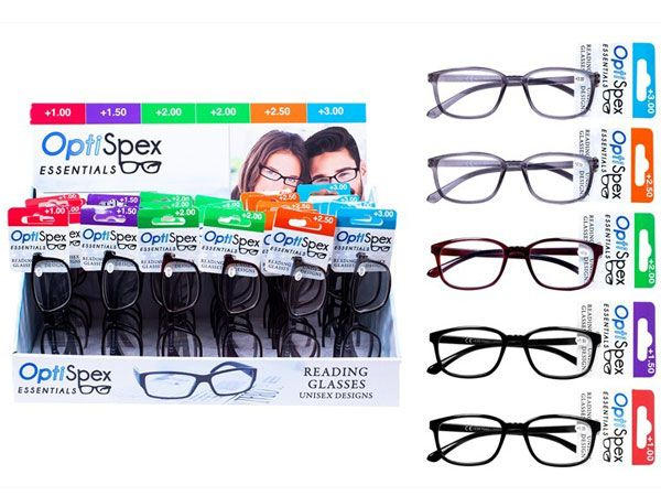 Opti-Spex - Display Of 30 Plastic Frame Reading Glasses -Assorted Strengths