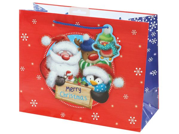 12x Large Christmas Gift Bag - Fluffy Glittery Santa And Friends