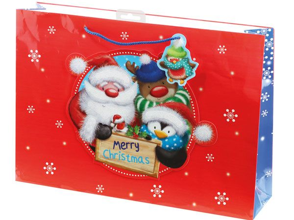 12x Extra Large Christmas Gift Bag - Fluffy Glittery Santa And Friends