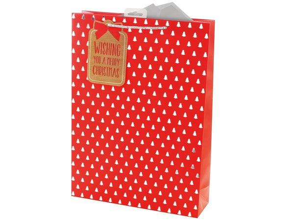 12x Extra Large Christmas Gift Bag - Foil Tree Icon Design