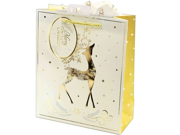 12x Large Christmas Gift Bag - Gold & Cream Stag