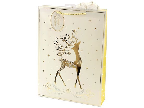 12x Extra Large Christmas Gift Bag - Gold And Cream Stag