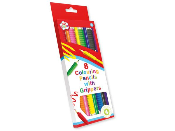Kids Create 8 Colouring Pencil Crayons With Grippers (fuj)